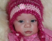 Crochet Baby Hat, Baby Hat, Baby Girl, Ear Flap Beanie, Pink, Pink Textured Yarn, Photo Prop