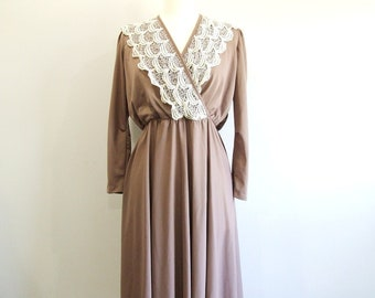 1970s Lace Dress Vintage 70s Long Sleeve Dress - L