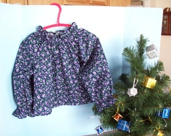 Peasant Blouse, Lavender Roses, on Navy Blue, Long Sleeves, Toddler Size 1T, Ready to Ship, Clearance Sale