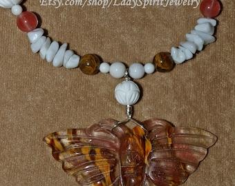 Volcano Cherry Quartz Butterfly Necklace Set