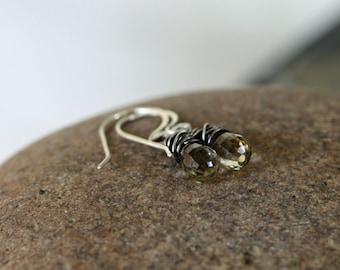 Beer quartz drop earrings in sterling silver