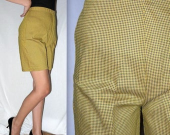 Busy Bee ... Vintage 50s 60s shorts / high waist waisted / rockabilly mad men / side zip bermuda .. S M / waist 28