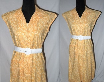 Zest ... Vintage 60s day dress / 1960s shirtwaist / housewife zip front  / mad men rockabilly / yellow floral sleeveless  ...  M L
