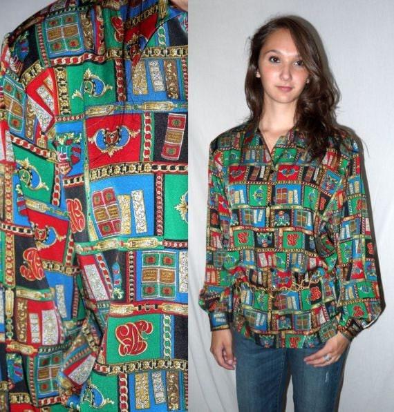 Shhhh .. Vintage 80s 90s baroque blouse / 1980s button up shirt / Versace style / 1990s chains books / scarf print ...  M L