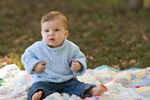 Pullover Sweater, Blue Knit Textured Long Sleeved with Rolled Neck, 6 to 12 Month Size (Item 170)