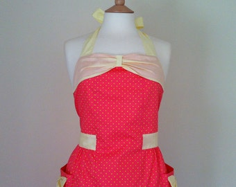 Retro apron with bow, yellow polka dots on coral fabric, 1950s vintage inspired, fully lined.