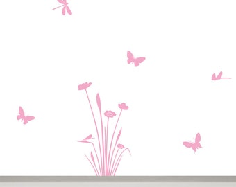 Flower Wall Decal with Dragonflies and Butterflies, Small Flower Nursery Wall Decor, Baby Girl Nursery Wall Art, Wall Decals for Baby Girls