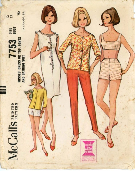 McCalls 7753 Misses 1960s Bathing Suit Pattern Cigarette Pants Boy Shorts Sleeveless Top and Dress Womens Vintage Sewing Pattern Bust 32
