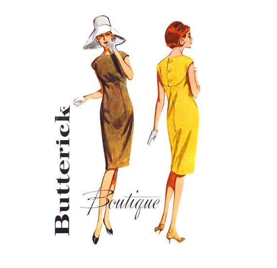 1960s Dress Pattern Butterick Boutique 3031 Misses Curved Yoke Day or Evening Sheath Dress Bust 32 Womens Vintage Sewing Pattern