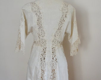 Vintage Antique Edwardian Victorian Lace and Linen Jacket