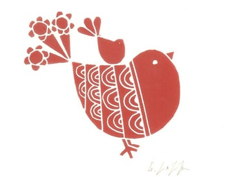 Red Robin Linocut - Lino Print - Birds Lover Gift,Child Gift - Original  Lino Print Hand Printed and Signed