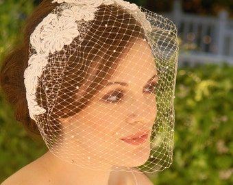 Vintage Blusher Veil or Birdcage veil with alencon lace and pearl accents, wedding veil, champagne birdcage veil - Bristol