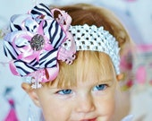 baby hair bow...zebra and light pink...infant hairbow...newborn headband...accessory for infant, toddler and little girls...baby bow