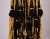Tribal Bellydance Belt - Black and Shell Tassel & String