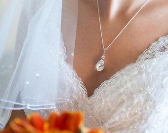 Crystal Pendant Bridal Necklace Bridal Wedding Crystal Drop Bridal necklace Swarovski crystal Bridesmaids jewelry Earrings available