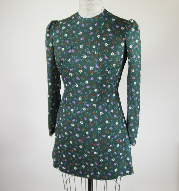 70s Green Floral Mini Dress Puff Sleeve Lace Trim Size Small