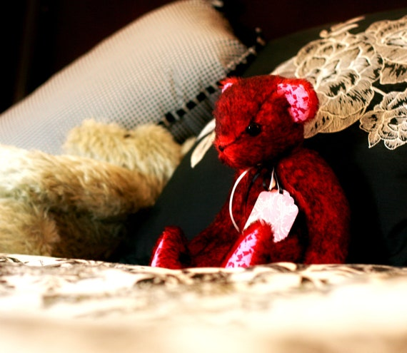 "Deep Red Short Hair Bear 12"""