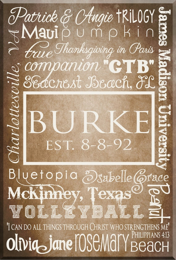 "Personalized Typography FAMILY, WEDDING, BABY, Anniversary  Word Art - Large - 36"" x 48"" Other sizes available"