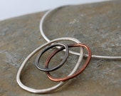 Organic necklace, rustic necklet, sterling silver & copper - Unique jewellery handmade in Orkney