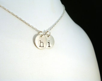 Personalized Letters Necklace, Best Friends Necklace, Two Lowercase Initial Necklace HI