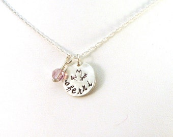 Dove Necklace / Custom Name Necklace / Sterling Silver Birthstone Necklace / Peace Dove Necklace / Memorial Necklace / Hand Stamped Jewelry