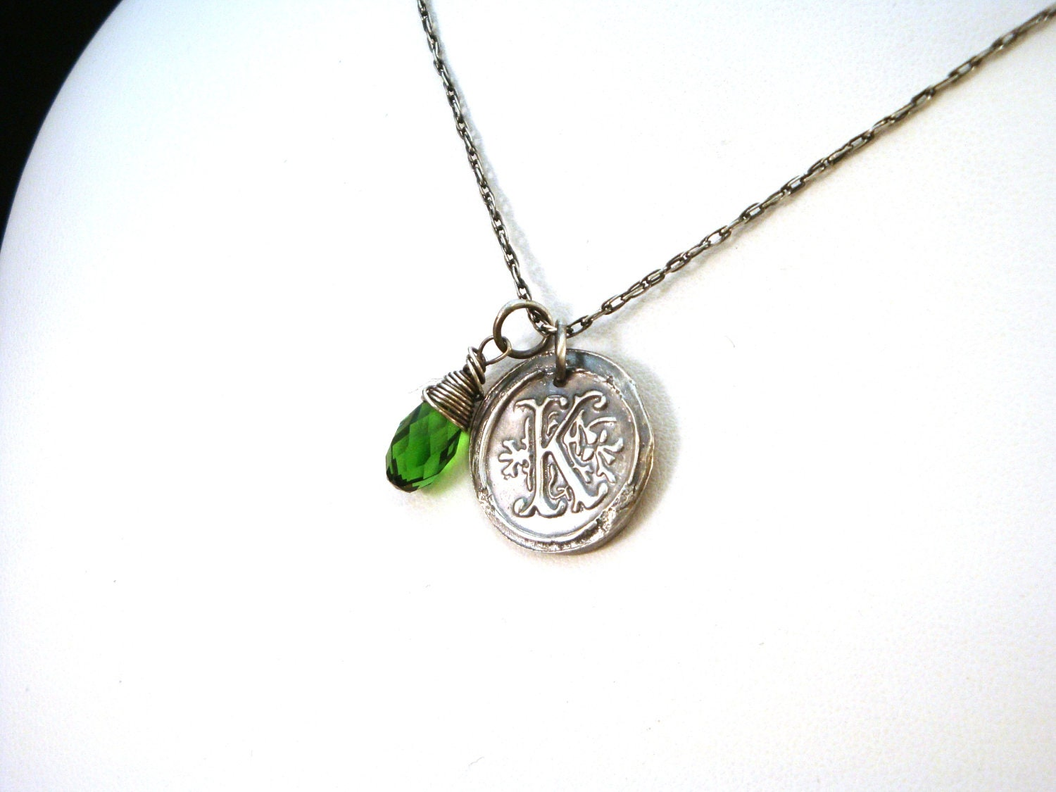 wax seal monogram necklace with birthstone by crowstealsfire