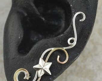 Swirling Victorian Earring Pin with Star -SINGLE SIDE - 14k Gold Filled , Sterling Silver, or Mixed Metals