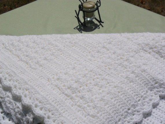 White Crocheted Baby Blanket in Shell Stitch