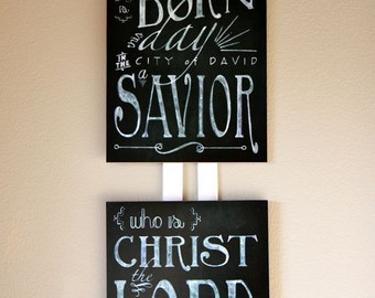 Christmas Bible Verse Chalk Board Wall Art - 8x10 mounted print no. 2 in a series