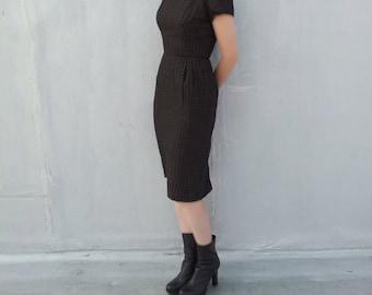 1950s Black Plaid Bombshell Dress 50s Vintage Small Topaz Cotton Check Pencil Skirt Espresso Brown Work Wear Mid Century Summer Sheath Dress