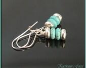 Turquoise Earrings, Stacked earrings, December Birthstone Jewelry, Bohemian Earrings, Beach Earrings