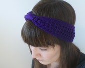 Purple Little Bow Headband Crochet Earwarmer