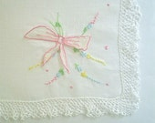 Hankie with Pink Fluttering Bow Applique Lace Edged Vintage Handkerchief