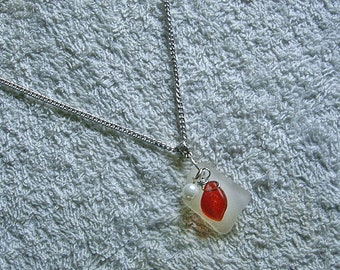 Beach glass necklace with red leaf and pearl charm. Sea glass jewelry.