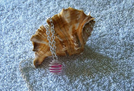 Pink Sea Glass Necklace. Sea Glass Jewelery. Beach glass necklace.