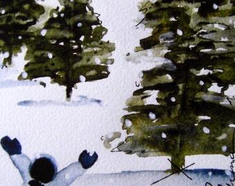 Child in Snow Holiday Art Print, Large Winter Art Print