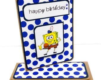 CLEARANCE- Spongebob Birthday Card: Polka Dots with Matching Embellished Envelope