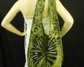 Green Tie Dye Sling Bag Purse Hobo Hippie Messenger Crossbody Top Zip Celebrity OAK XL VH7