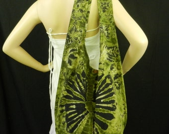 Green Tie Dye Sling Bag Purse Hobo Hippie Messenger Crossbody Top Zip Celebrity OAK XL VH7