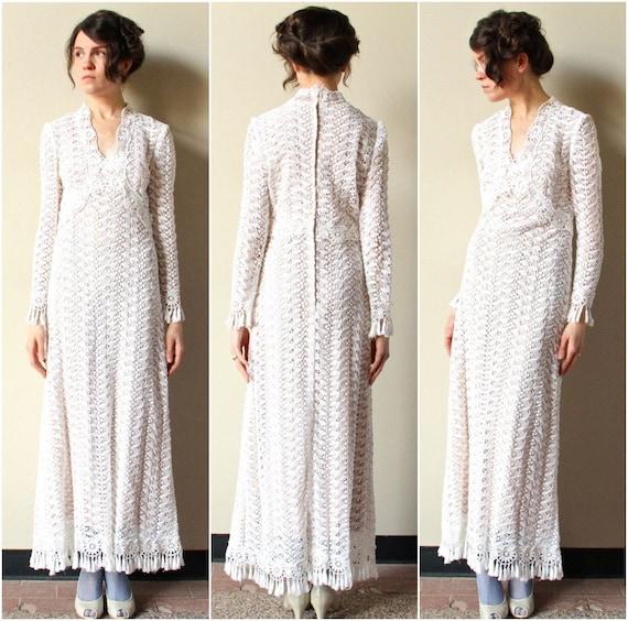 Boho HIppie Wedding Dress 60s 70s designer by factoryhandbook