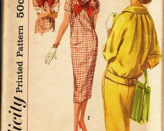 1960's Misses' Dress, Tie and Detachable Collar  Simplicity 2605  Size 18  Bust 38  Factory Folded