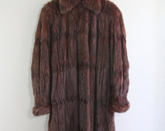 burgundy full length genuine RARE ermine FUR coat - stroller style- SALE