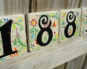 house numbers hand painted address tile Garden Party