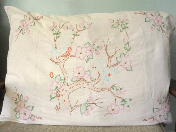Vintage Embroidered Bird and Flowering Branch Pillowcase