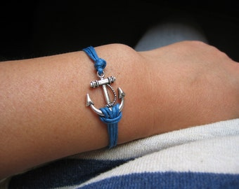 Anchor Bracelet - Antiqued Silver Anchor Charm, Waxed Cotton Cord, Toggle Bracelet - Made to order
