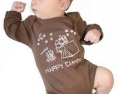 SHORT sleeve bodysuit Happy Camper Unisex Organic Clothing in Brown- Size 0 3 6 12 18 months  Eco Friendly Children-  Baby Clothes