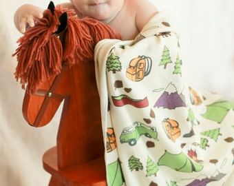 Organic Happy Camper Baby Blanket - Swaddle Blanket Camp and Hiking Themed Blanket Tent Canoe Boots Trees