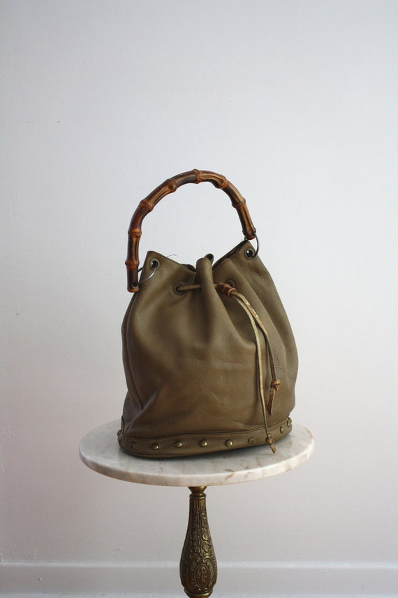 XL Leather Bag - Bamboo Handle Brass Studded Taupe LARGE - 1980s VINTAGE