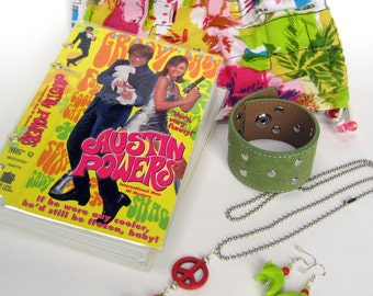 Mod 60s Gift Set with Upcycled Blank Book, Leather Cuff, Earrings & Pendant in Groovy Bag. It's Shagadelic, Baby.