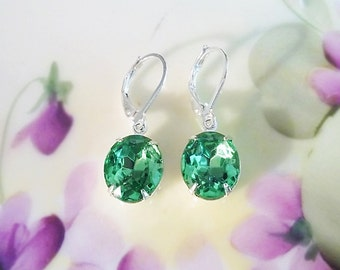 Peridot Green Earrings Vintage 50's Peridot Green Rhinestone Earrings New Settings August Birthstone Wedding Jewelry